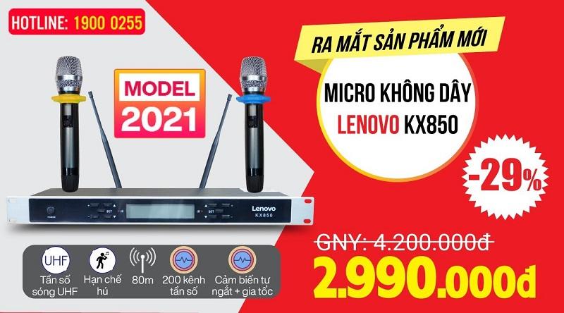Micro không dây Lenovo KX850, Hàng mới 2021, Hát karaoke Siêu Hay